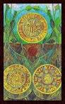 Tres de Oros del Tarot de Cristal