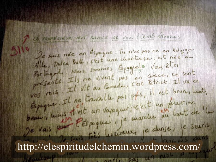 Ejercicio de redacción que resume los contenidos de lo aprendido al final del primer trimestre del primer año de francés eoi
