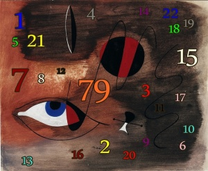 Composición númerológica sobre obra de Miró