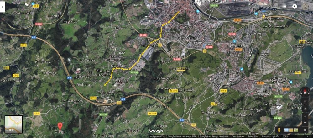 El Camino desde el Centro de Avilés a la aldea de Orbon