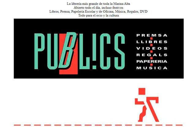 Llibrería Publics en Denia Alicante