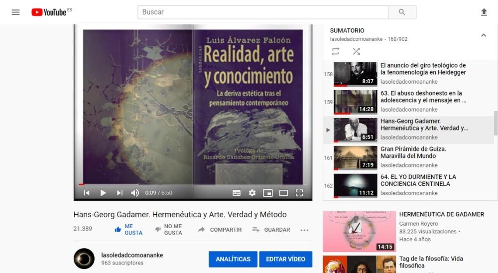 Hans-Georg Gadamer. Hermenéutica y Arte. Verdad y Método