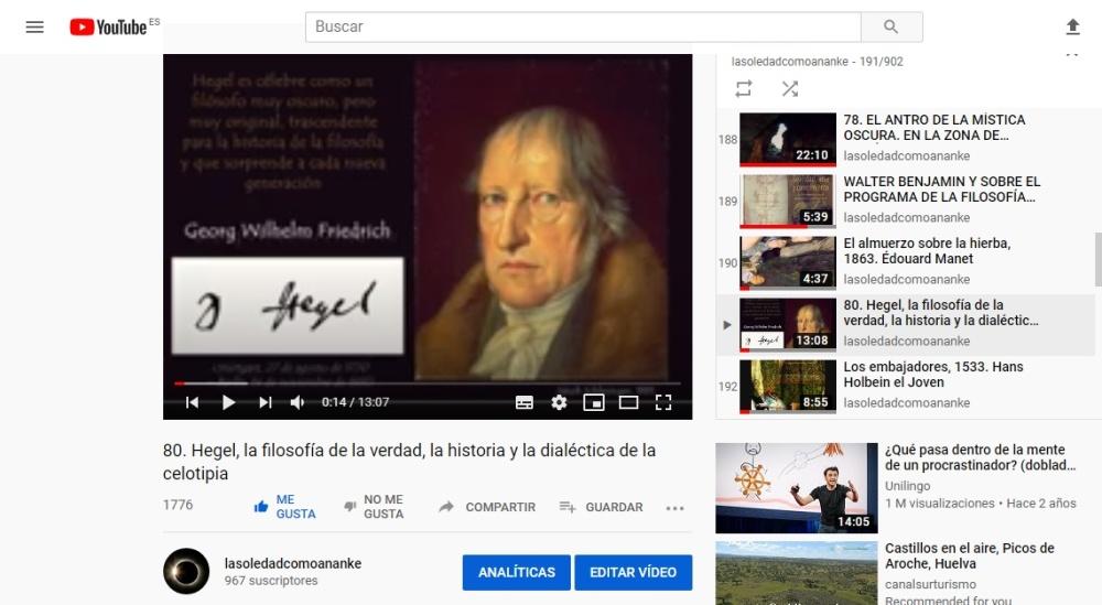 Hegel, la filosofía de la verdad, la historia y la dialéctica de la celotipia